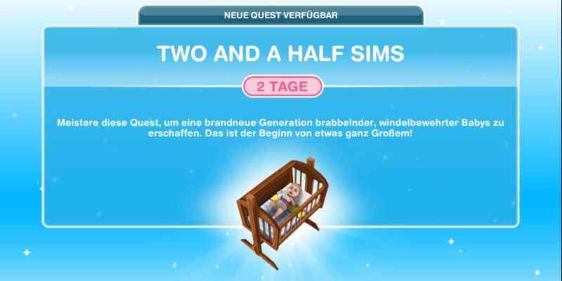 Questankündigung Two and a half Sims
