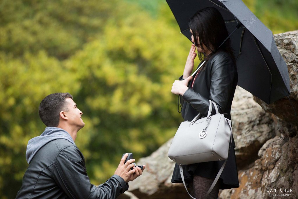 stow lake marriage proposal on a rainy day with a girl holding a black umbrella and covering her mouth in shock