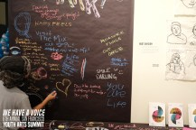 Chalk wall at Root Division's booth