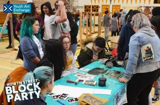 YAX youth printmakers sharing their printmaking skills