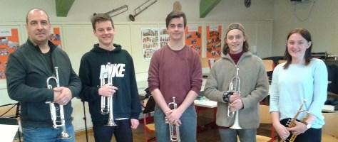 Nemanja Jovanovic, Leadtrompeter der SWR Big Band, mit Simon Hagel, Johannes Wilhelm, Max Maas und Leonie Zürn