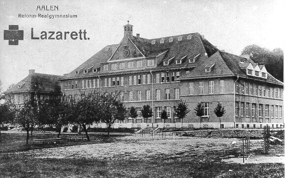 Das Schubart-Gymnasium (ehem. Reform-Realgymnasium) als Lazarett im 1. Weltkrieg