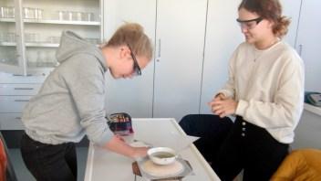04.12.2019: Die Klasse 8c bei der Salz-Challenge: Wer trennt am meisten Kochsalz ab?