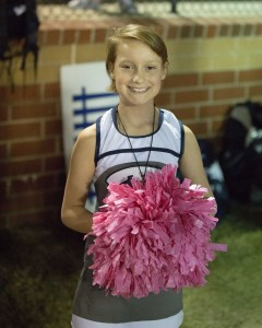 Pink Out: It was Breast Cancer Awareness night at the Brodie on Friday Night, and cancer survivor Chloe Kendrick got a treat as well, cheering with the Varsity cheerleaders during the contest.