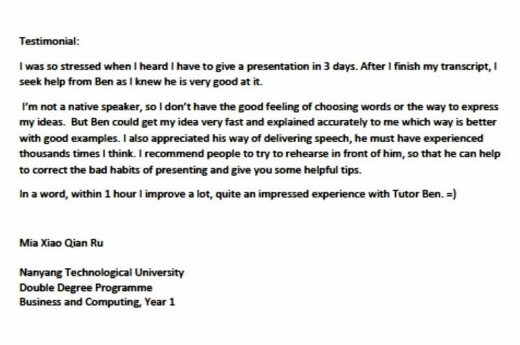 Testimonial from Mia Xiao Qian Ru