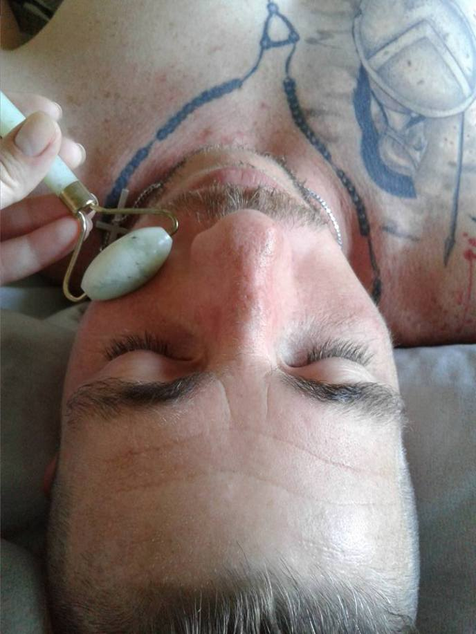 Crystal Facial in session with Jade Roller