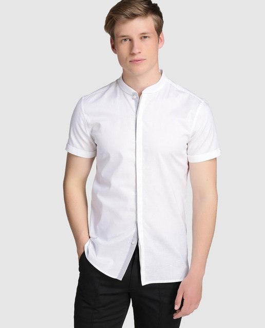 Frmula Joven Mens Plain White Shirt Frmula Joven