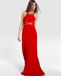 Vestido de fiesta de mujer Tintoretto con drapeado y escote halter