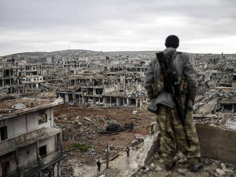 Present day Syria due to civil war conflict.