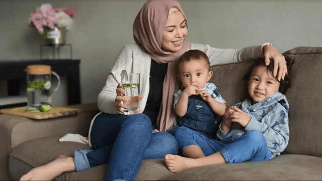 Nawal with her two little boys