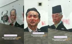 Mural Wajah Wira-Wira Negara Termasuk Lukisan Wajah YDP Agong Diconteng Serta Ditulis Kata-Kata Kesat