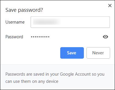 padam kata laluan di Chrome