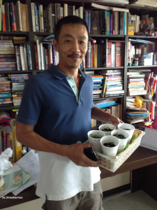 Strawberries seedlings shared with Singapore gardeners