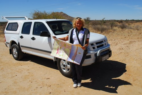 Namibia: francy on the road.