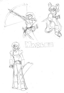 "Sketch of Marlee, a ""halfling"" from my story. If she does not look short like a halfling (or the originatorcreature, the hobbit), you would be correct. I designed her race as a cross between the hobbit, orc, and dwarf races. They have the industriousness of dwarves, the strength of orcs, and the hirsuite nature of hobbits."