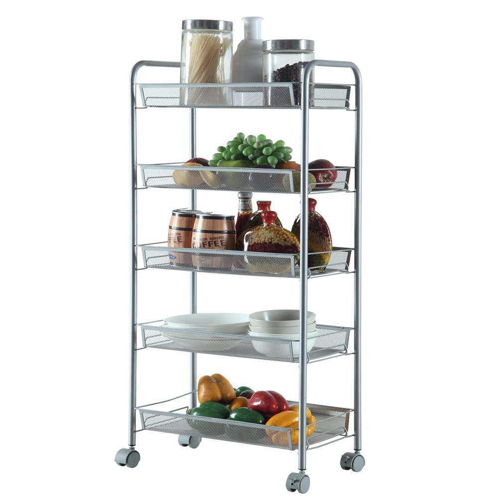 5 tier mesh shelving rack shelf rolling