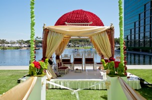 The mandap is set up right on the water at the Hyatt Regency Long Beach