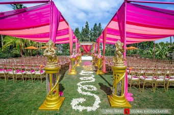 Kunal-Shveta-Indian-wedding-venue-bride-groom-Hotel-Irvine-Global-Photography-sherwani-lehenga-bollywood-dance-Hindu-wedding-ceremony-jaimala-varmala-mandap-chiavari-chairs-pink-canopy-pink-programs