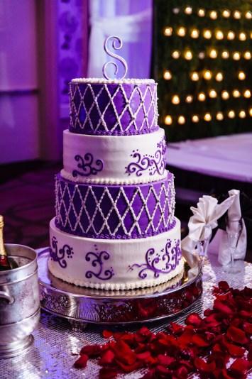 Purple 4-tier wedding cake