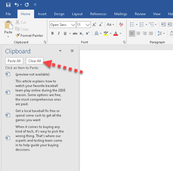 How to Access and Use Clipboard on Microsoft Word 2019 on Windows 10