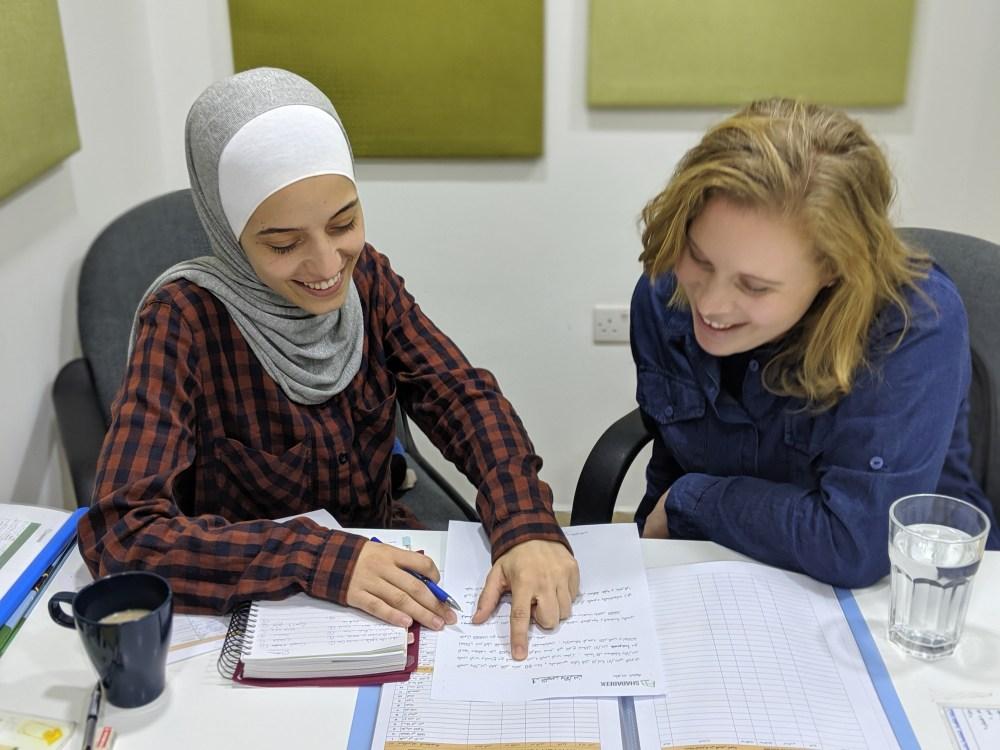 upper level student learning spoken Arabic in Amman Jordan