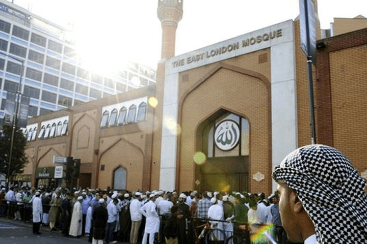 Muslims waiting outside of the East London Mosque (file photo)