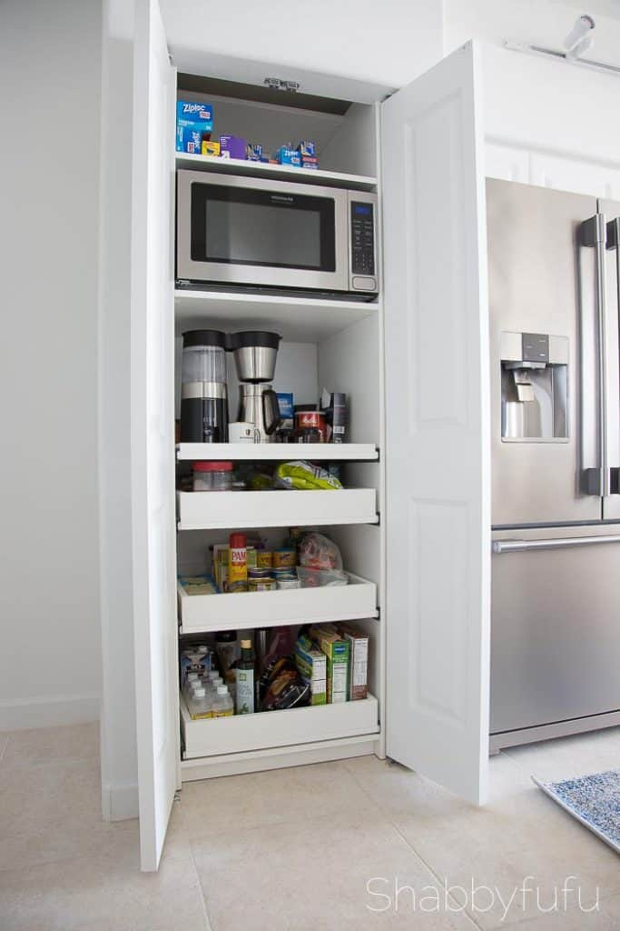 hidden coffee station and microwave
