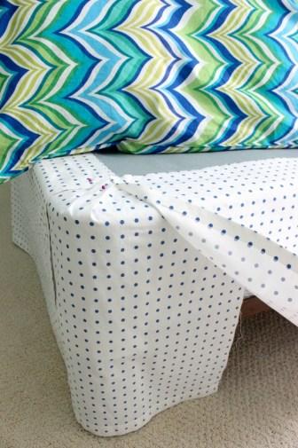 corner of bedskirt