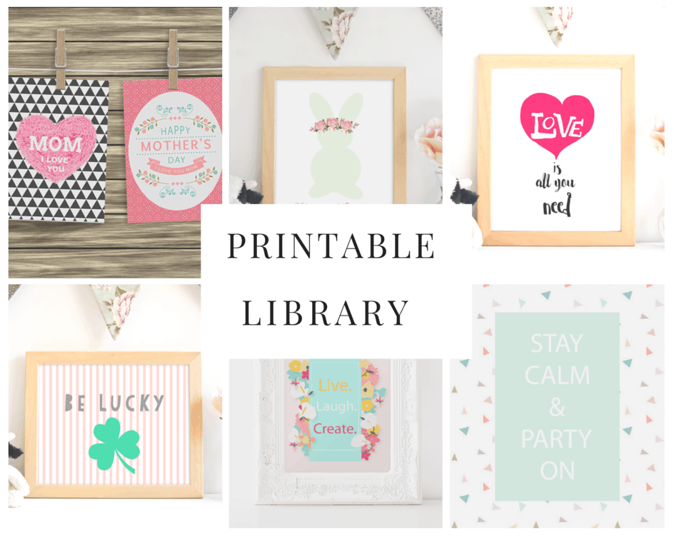 Shabby Mint Chic Party Printable Library subscription