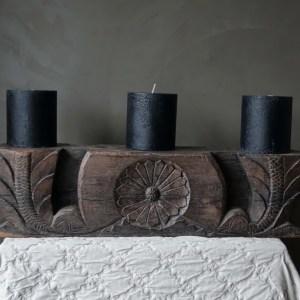 Shabbys-Stoer in wonen-Stoere, zeer zware massieve poer/kandelaar/ornament uniek exemplaar voor 3 kaarsen