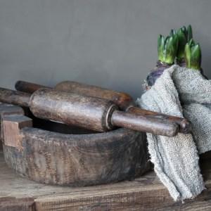 Shabbys-Stoer in wonen-Oude houten Chapati deegroller, hoogte 4 cm