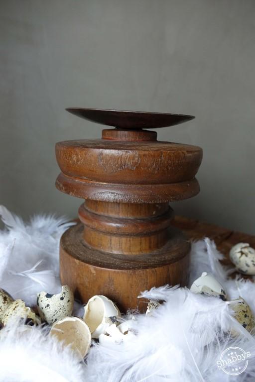Shabbys-Stoer in wonen-Oude houten Baluster/Kandelaar uit India, hoogte 14 cm