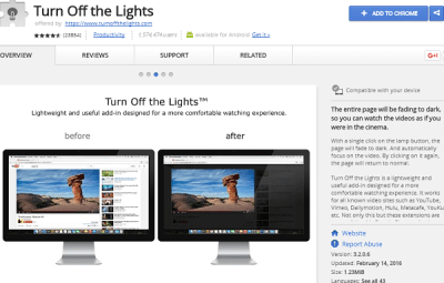 turn off the lights best chrome extension