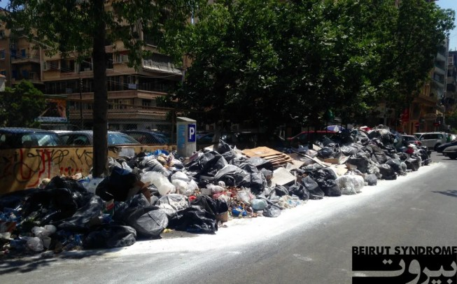Garbage piles on Makdessi Street on the morning of July 21, 2015. Photo: Sarah Shmaitilly, Beirut Syndrome.