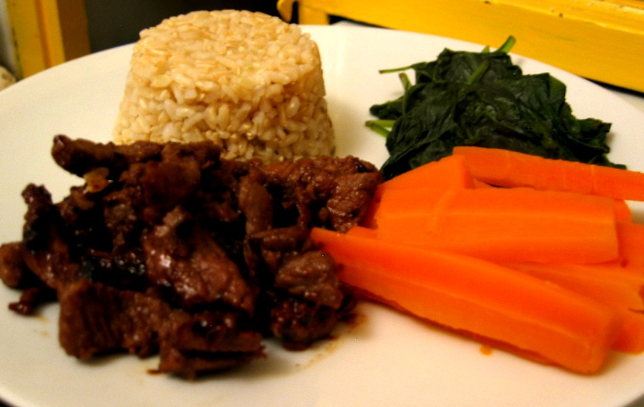 Fast-Fry, Hot and Sticky Sweet Meat with Carrots, Spinach and Long Grain BrownRice