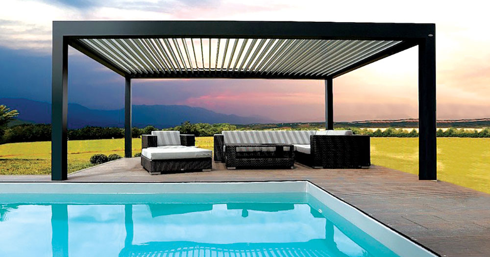 Louvered Pergola Covers | Shade and Shutter Systems, Inc ... on Patio Cover Ideas For Rain id=77643