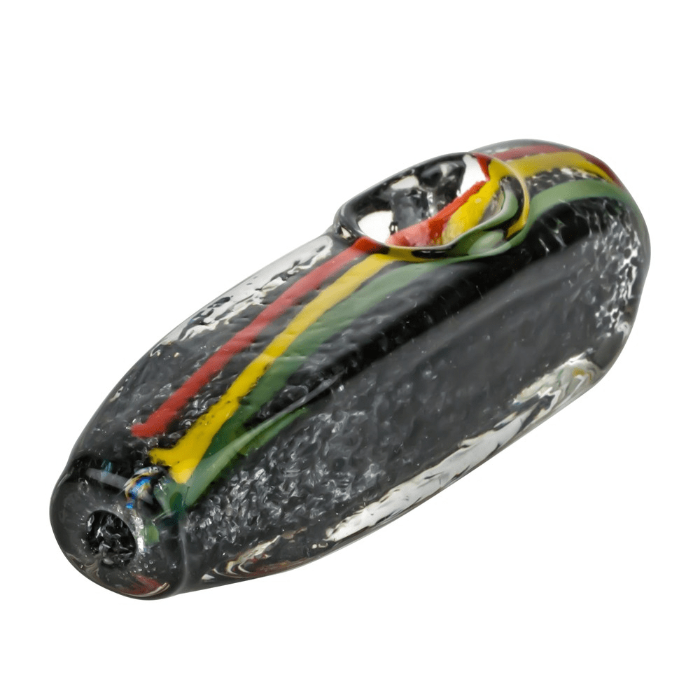 Glasscity Black Glass Steamroller Pipe with Rasta Stripe