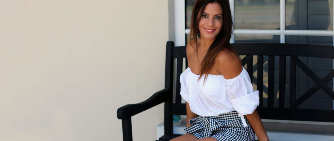 The Must-Have Gingham Shorts and off the Shoulder Top​