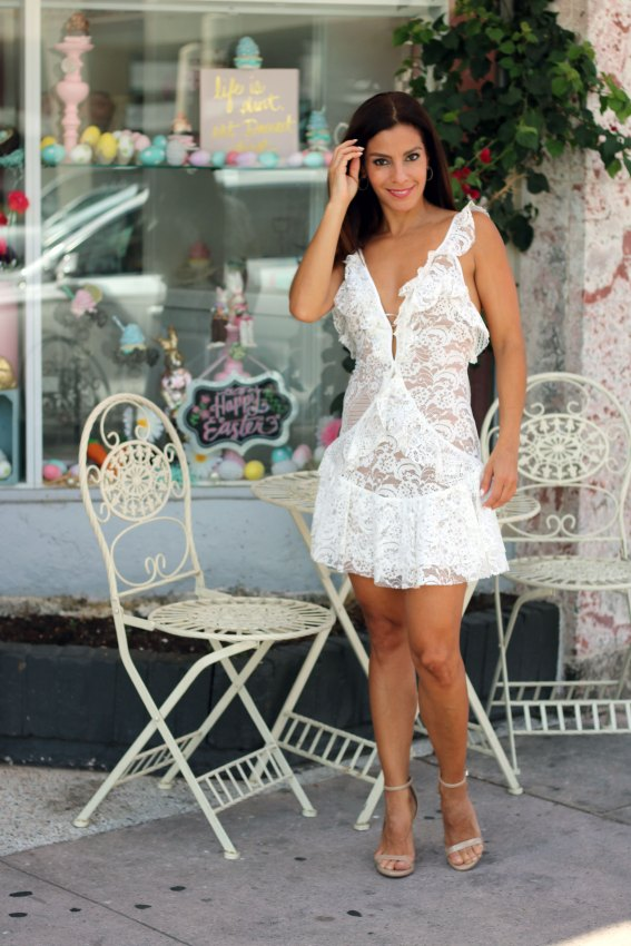 tati lace ruffle dress for love and lemons front