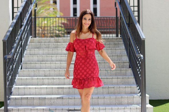 tularosa red brinley dress front