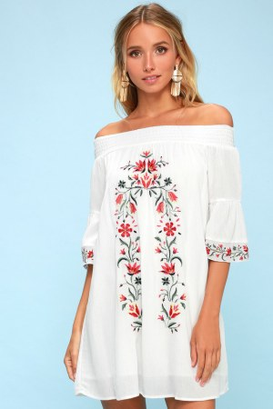 Embroidered Off The Shoulder Dress