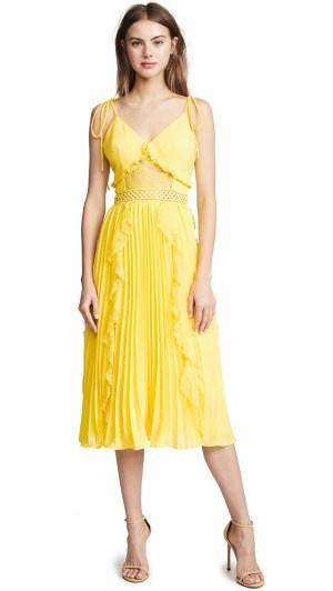 Yellow Ruffle Pleated Dress
