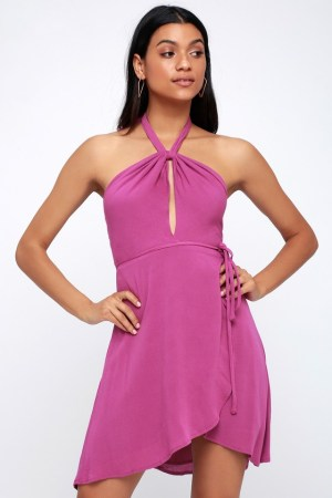 MATINEE MAGENTA HALTER WRAP DRESS
