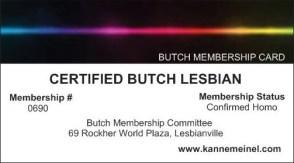 Certified Butch Lesbian Membership Card - Copy