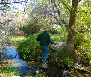 Jon crossing another stream