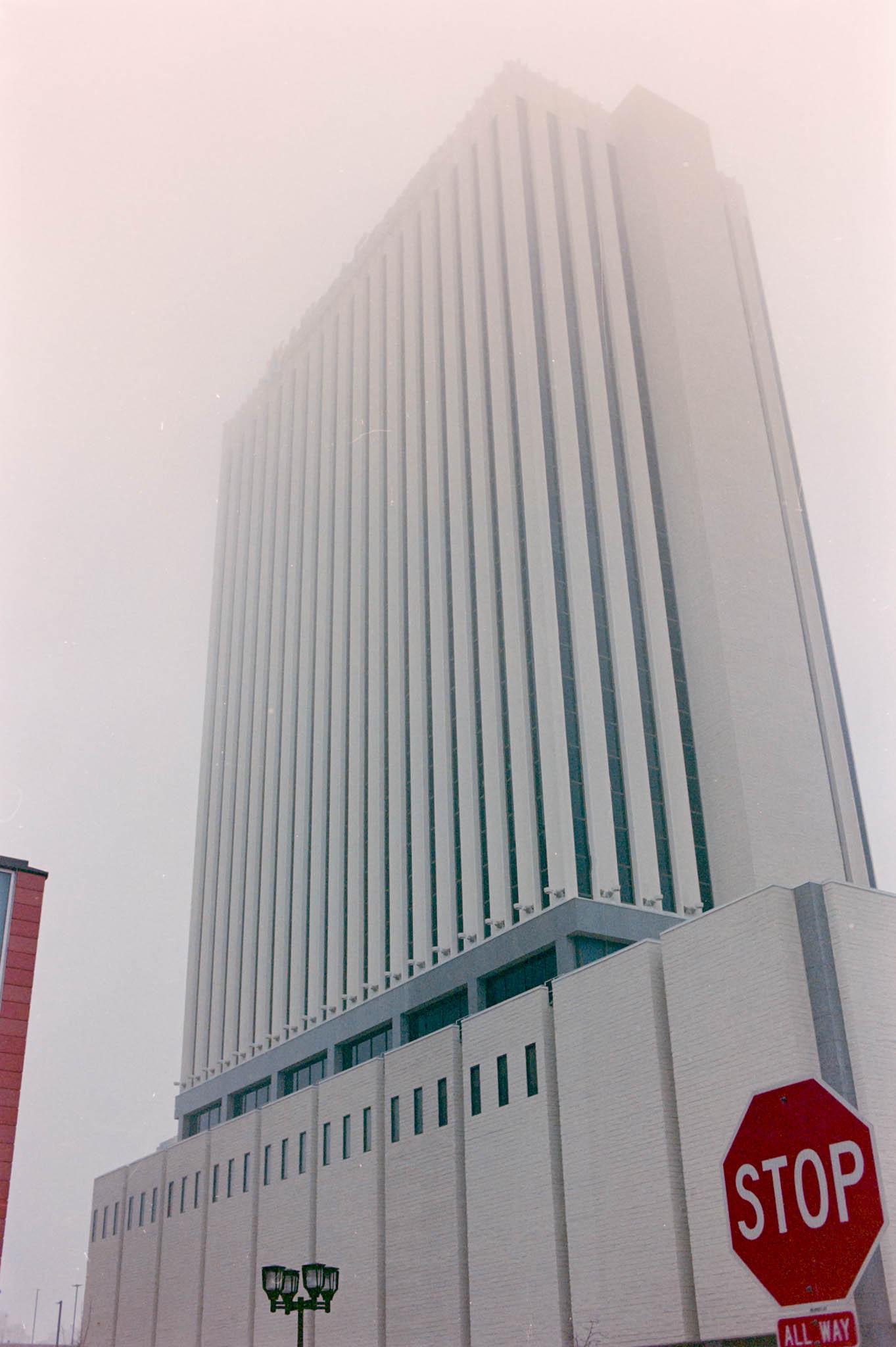 Alliant Energy building, downtown Cedar Rapids on a foggy winter day. Camera: Nikon N2020 with Fujifilm Superia 400