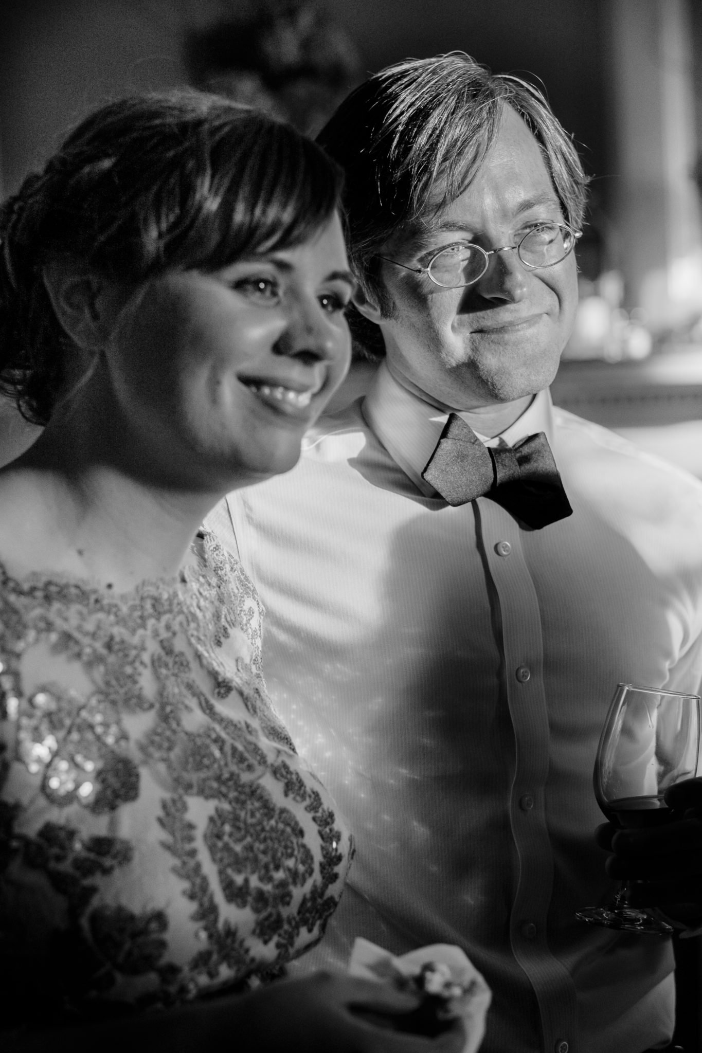 Candid photo of bride and groom at a wedding in Cedar Rapids, Iowa