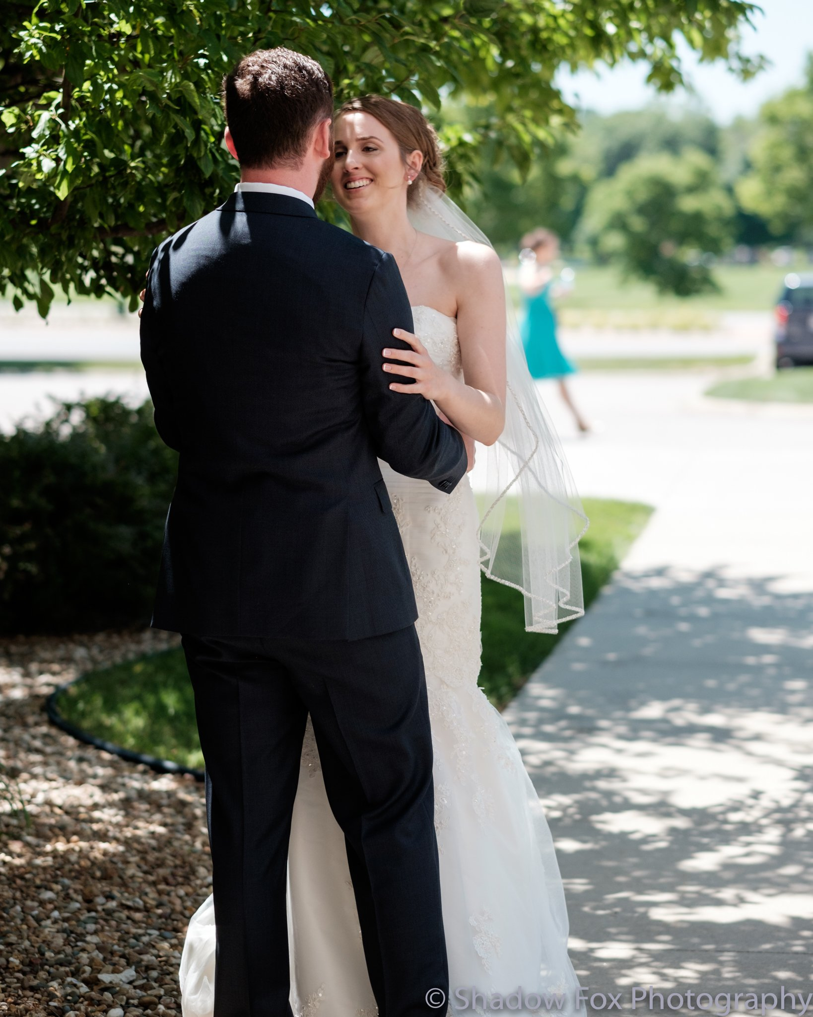 Bride and Groom see each other for the first time before wedding ceremony
