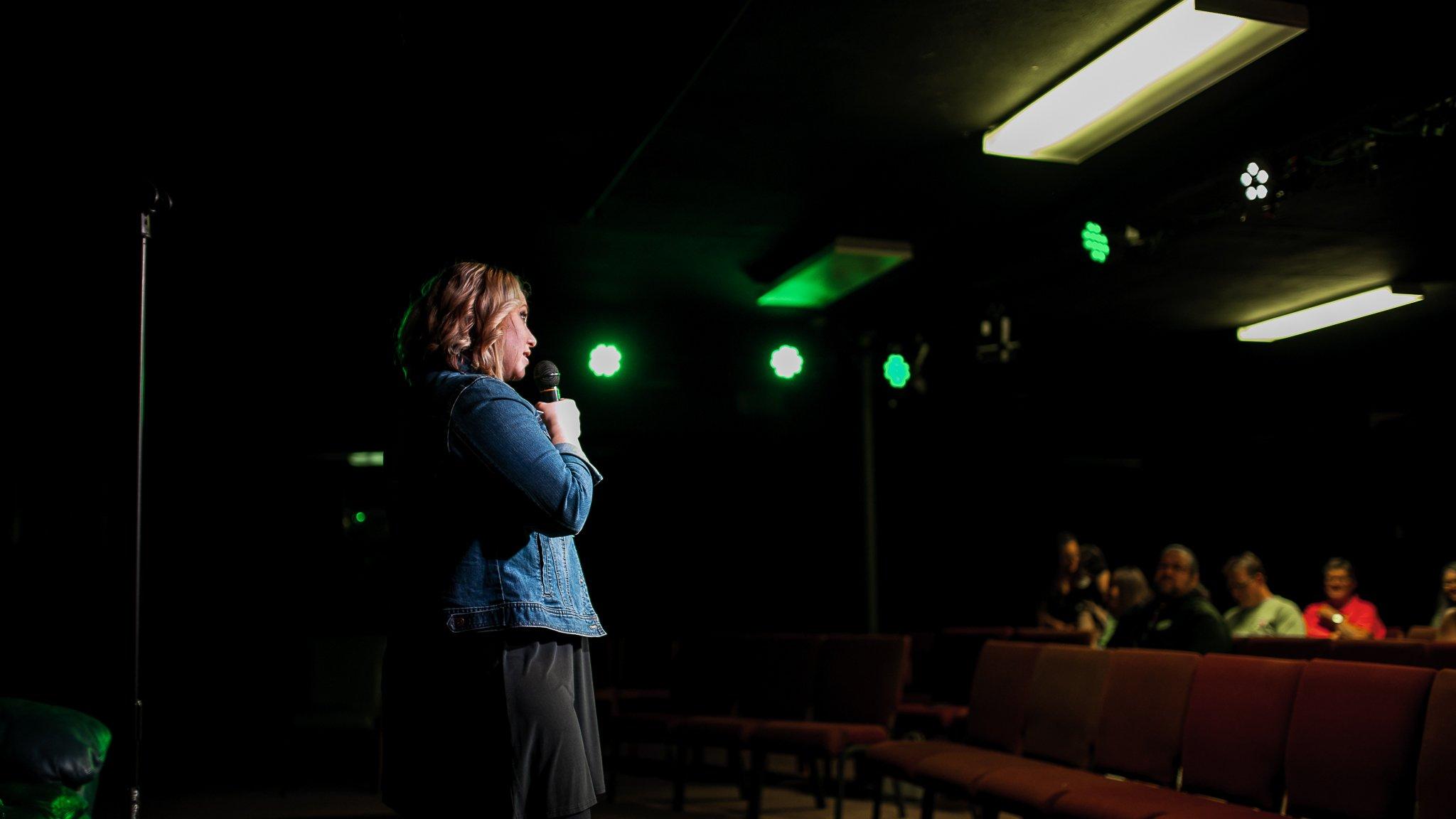 State Representative Liz Bennett at her Celebrity Karaoke Night Fundraiser at the Rich Heritage of Cedar Rapids Theatre Company