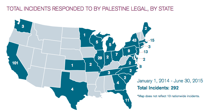 A map of the United States showing incidents where Palestine Legal responded to the suppression of free speech rights of pro-Palestine activists. Since January 2014, they've responded to 292 incidents. (Palestine Legal)